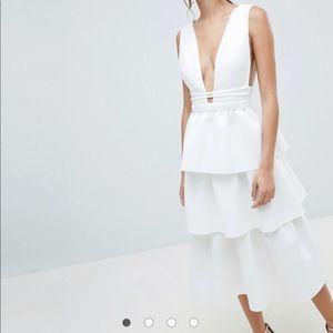 ASOS DESIGN deep plunge tiered midi dress